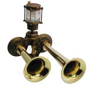 Kahlenberg D-2CVL marine air horn with integrated whistle light, shown here in brass and bronze