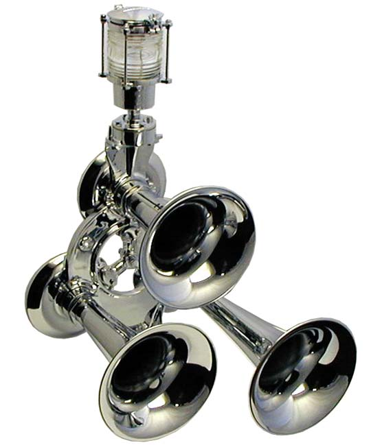 Kahlenberg Chimetone T-3A air horn with optional M-300 chrome masthead light